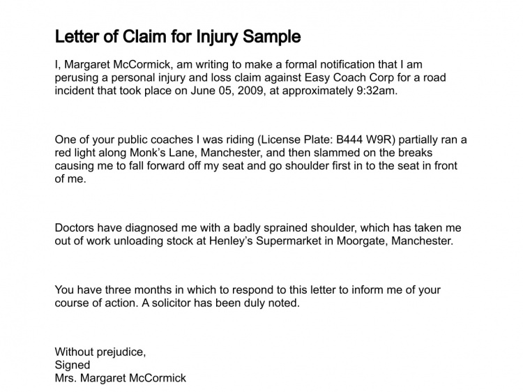 letter claim sample demand pain and suffering compensation ...