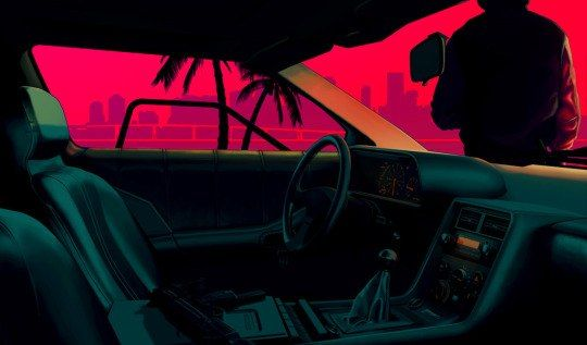 80s Car Interior Vaporwave Wallpaper Hotline Miami Neon Noir