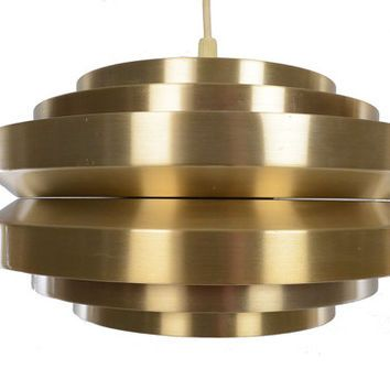Danish modern mid century brass ufo cylinder pendant lamp danish modern mid century brass ufo cylinder pendant lamp mozeypictures Images