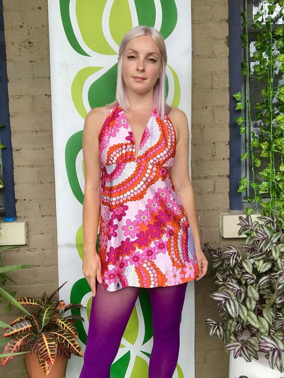 98abd142b2 Vintage 1970s flower power halter top micro mini dress retro 70s halter top  open back tunic shirt tr