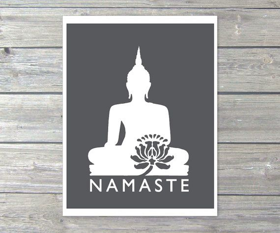 Namaste buddha digital print charcoal dark grey modern wall art home decor