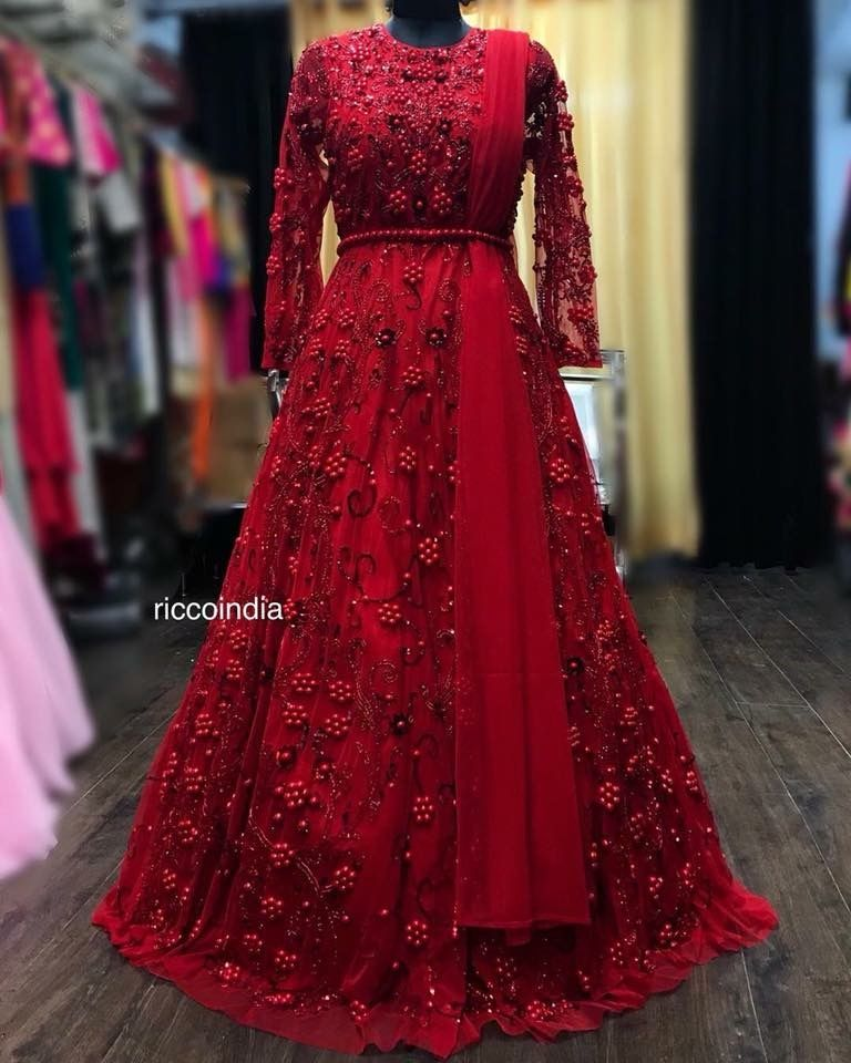 Intricate Pearl And Swarovski Embroidery Bridal Red Gown Indian Gowns Dresses Indian Gowns Indian Wedding Gowns