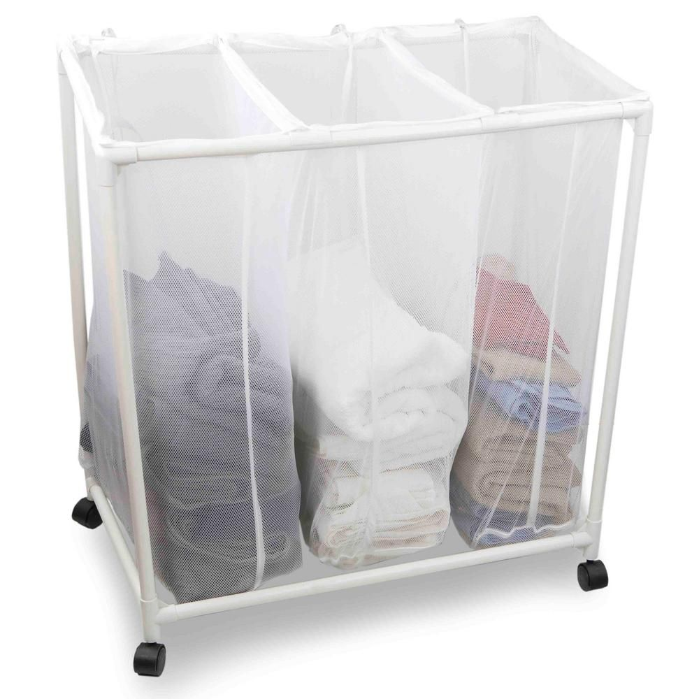 Sunbeam White Mesh Laundry Triple Sorter With Wheels Laundry