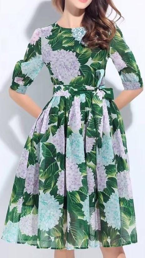 Hydrangea Print Silk Dress