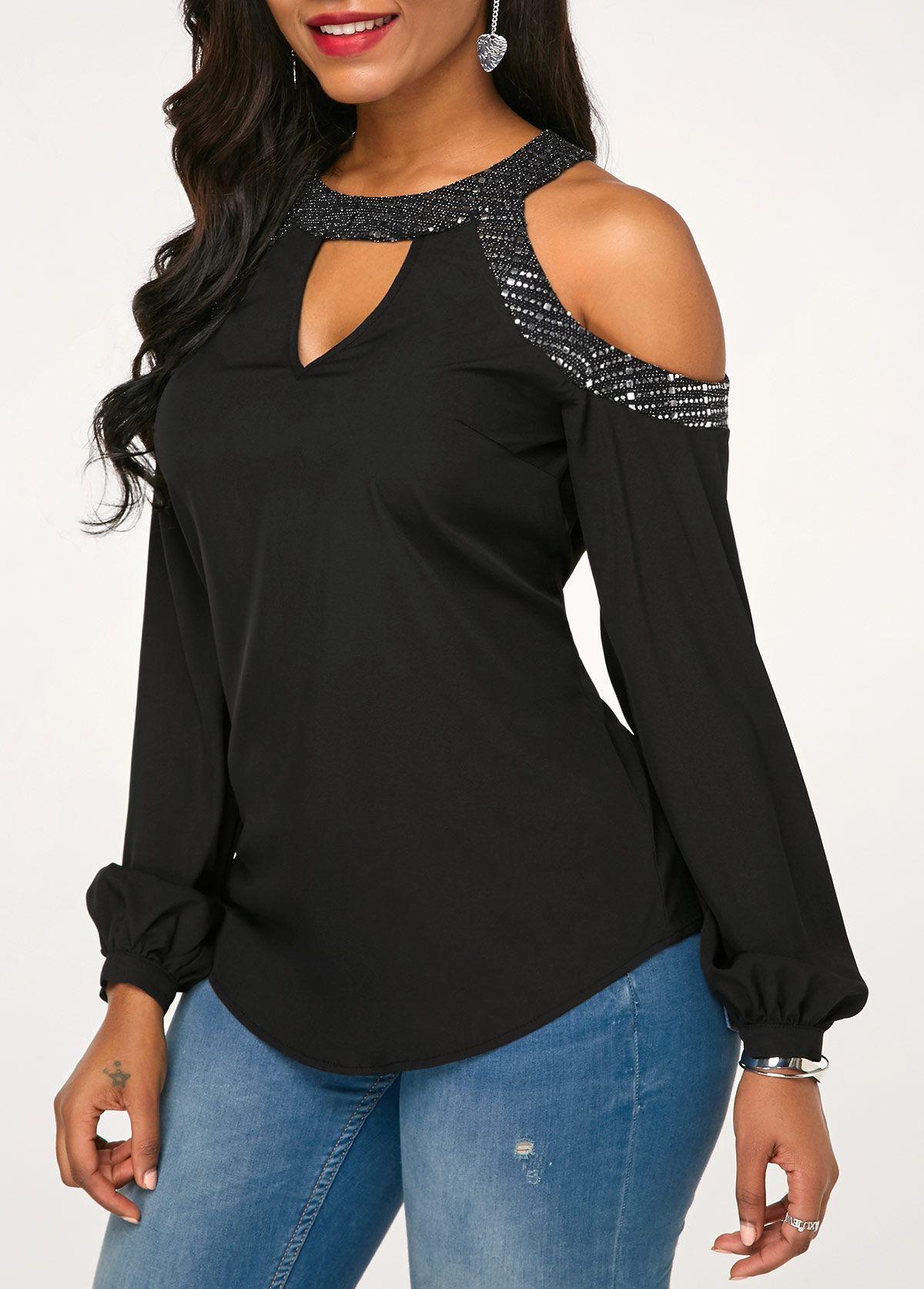 f18de16a1c4 Cold Shoulder Long Sleeve Black Blouse | Rotita.com - USD $26.58 ...