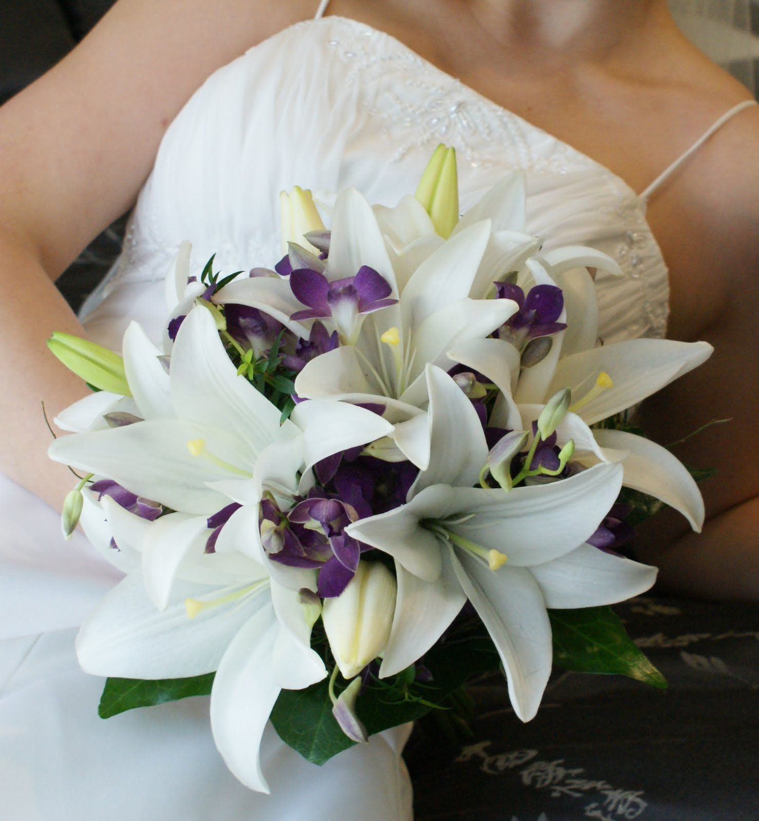 purple orchids and white lilies | Wedding Bouquets ...