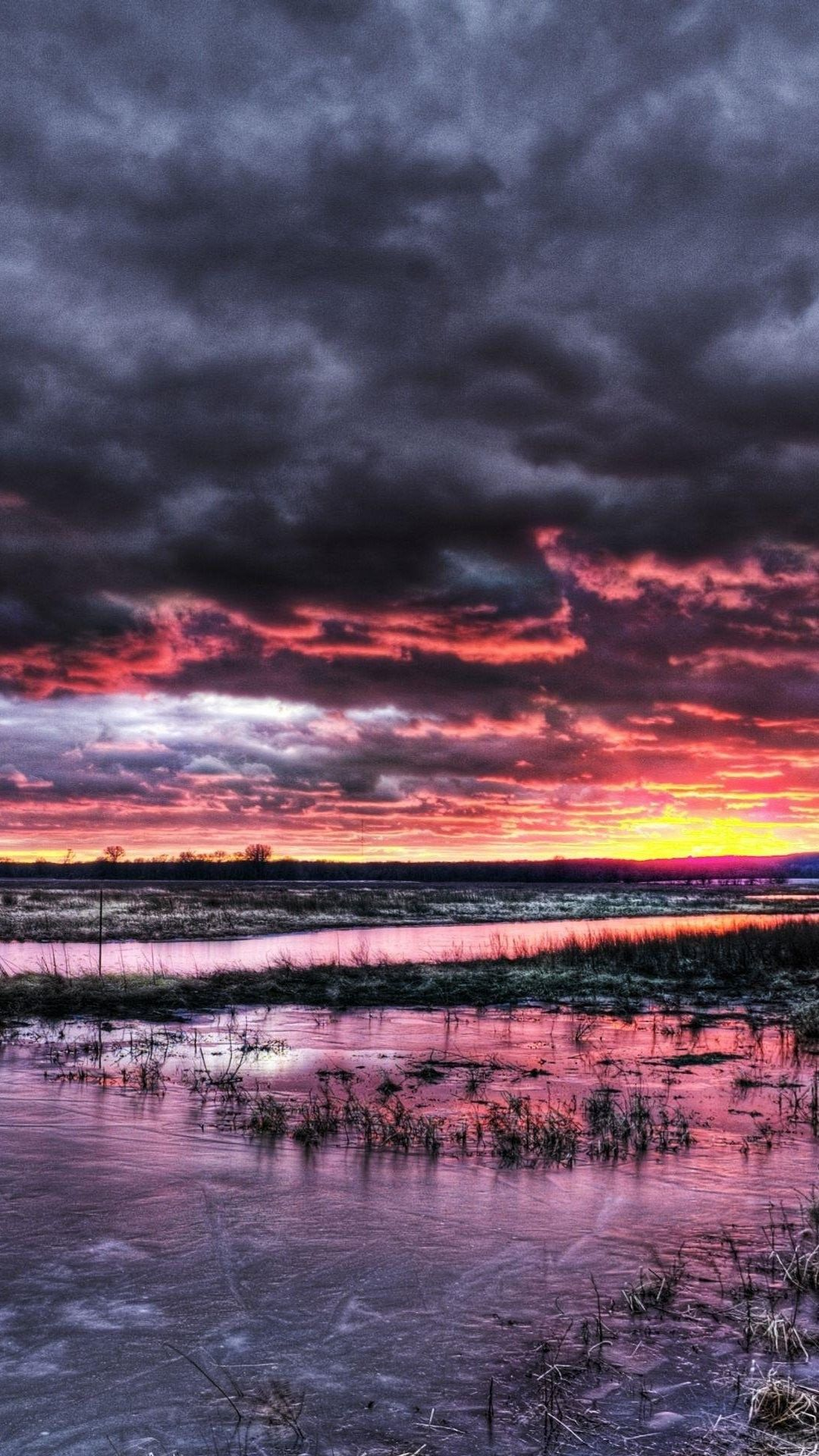 Nature iphone 6 plus wallpapers dramatic sunset over frozen marsh iphone 6 plus hd wallpaper - Dramatic wallpaper ...
