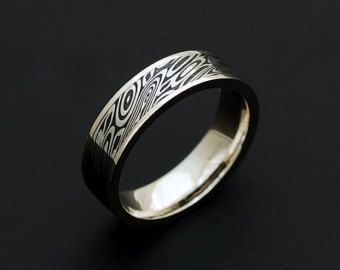 Wedding Rings Genuine Stainless Damascus Steel And Rose Gold Mens от Polygallery