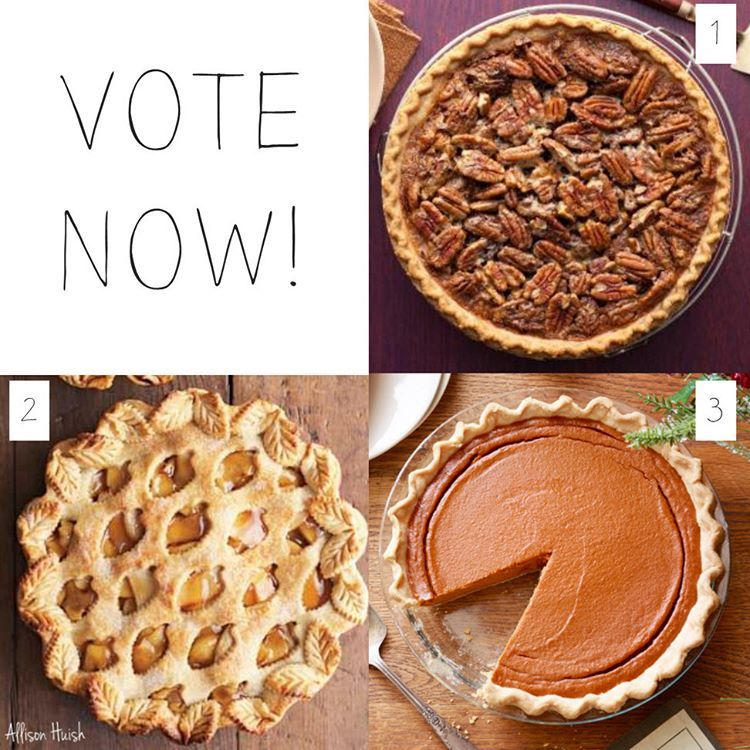 OK let's vote! If you could only have 1 slice of pie this Thanksgiving which one would it be? 1) Pecan 2) Apple or 3) Pumpkin. Follow the polls below in the comments! Winner will be announced tonight after the votes are all counted.