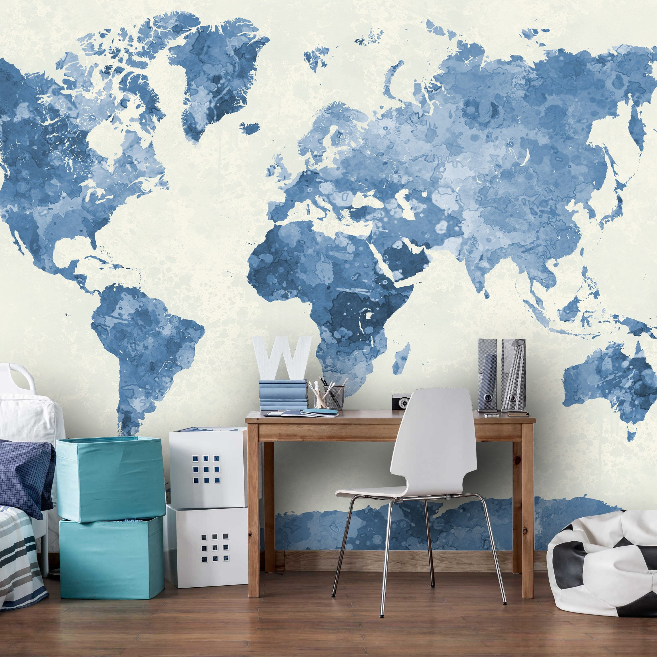Watercolor World Map In Blue Wall Mural, Watercolor World
