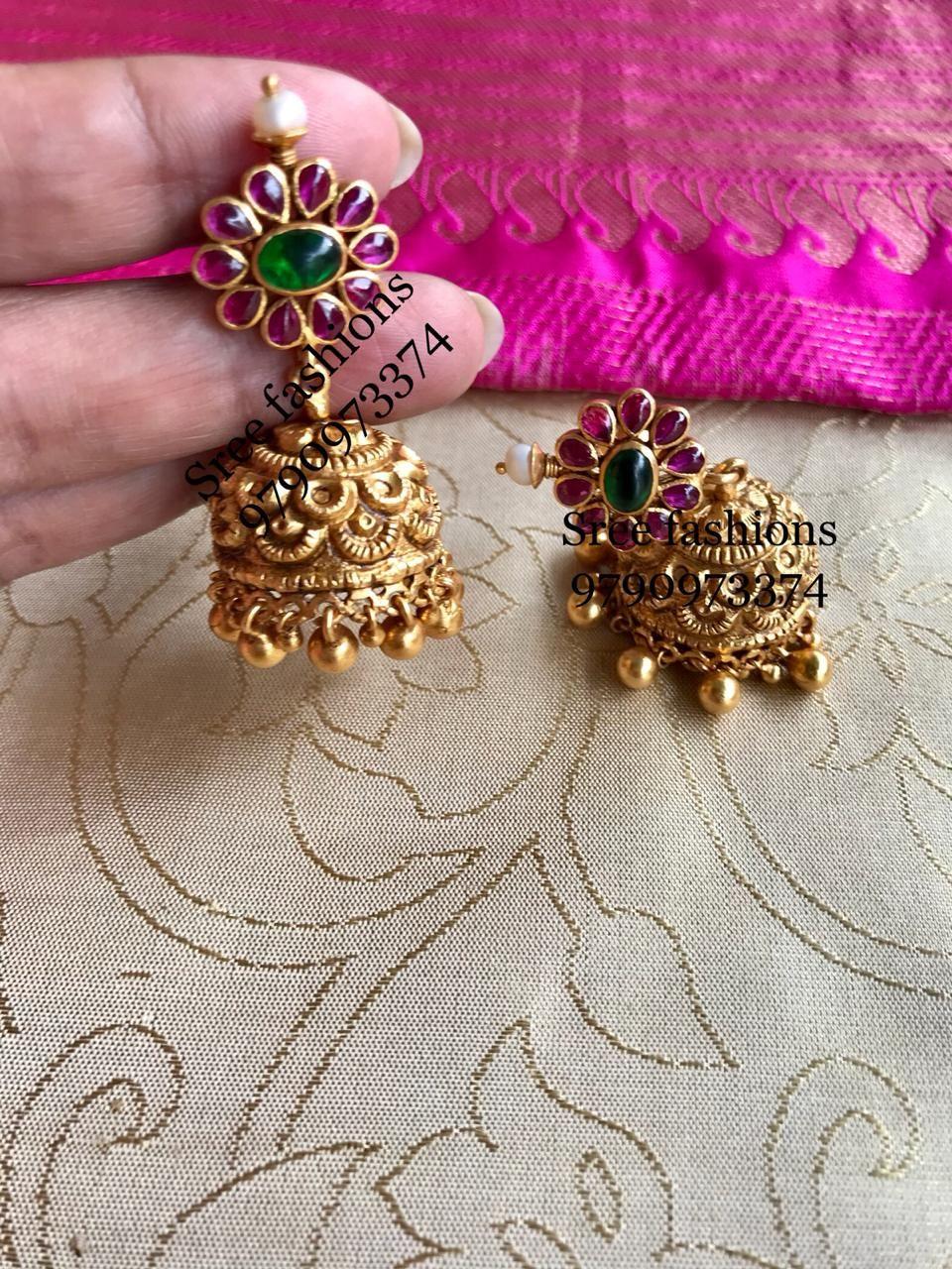 Cute Silver Jhumka Diamond wedding jewelry, Temple