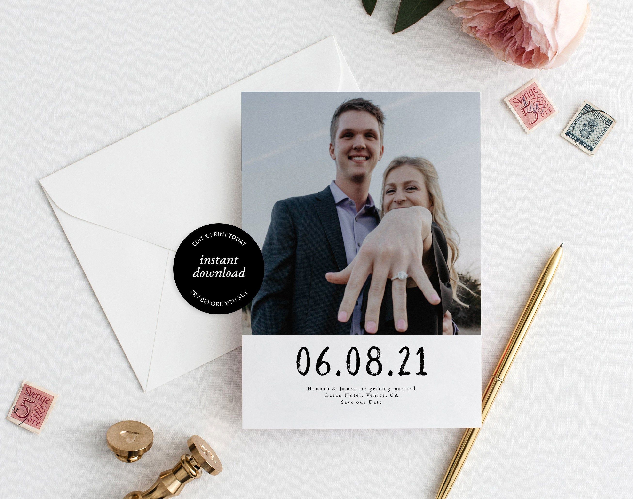 Minimalist Save The Date Template W Photo 100 Editable Etsy Wedding Announcements Templates Save The Date Save The Date Templates