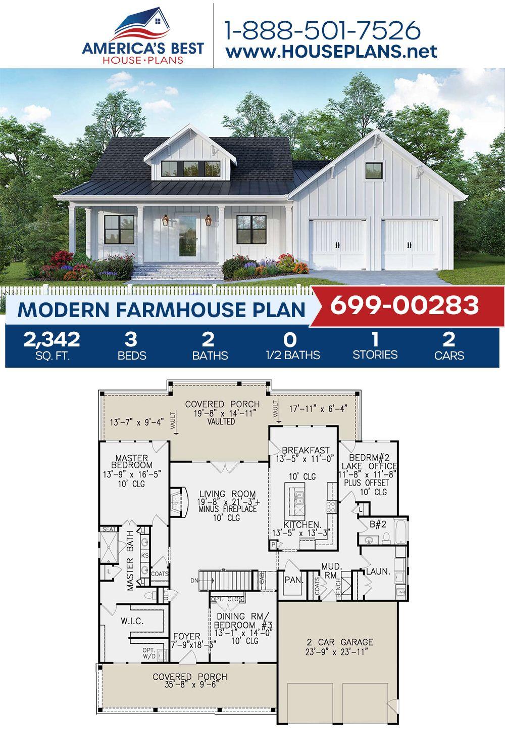 House Plan 699 00283 Modern Farmhouse Plan 2 342 Square Feet 3 Bedrooms 2 Bathrooms In 2020 Modern Farmhouse Plans House Plans Farmhouse Farmhouse Plans