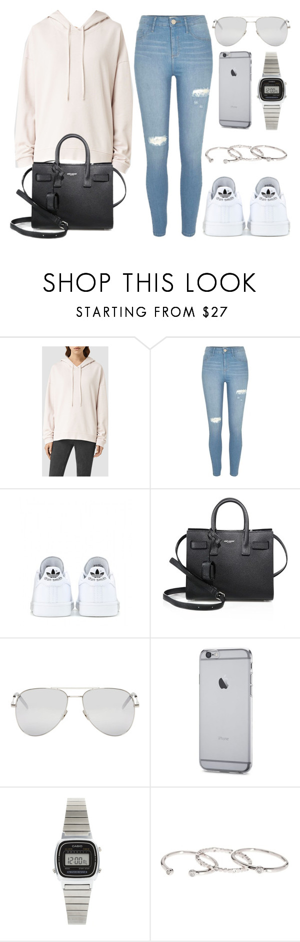 """""""Style #11411"""" by vany-alvarado ❤ liked on Polyvore featuring AllSaints, River Island, adidas, Yves Saint Laurent, Casio and Gorjana"""