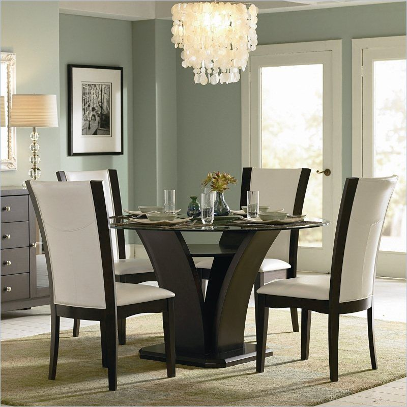 Homelegance Daisy Round Glass Dining Table In Espresso Finish Beauteous Espresso Dining Room Sets Inspiration Design