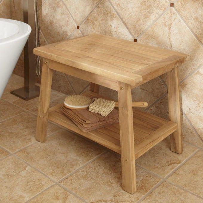 Teak Shower Stool with Shelf - ADA Compliant | Teak shower stool ...