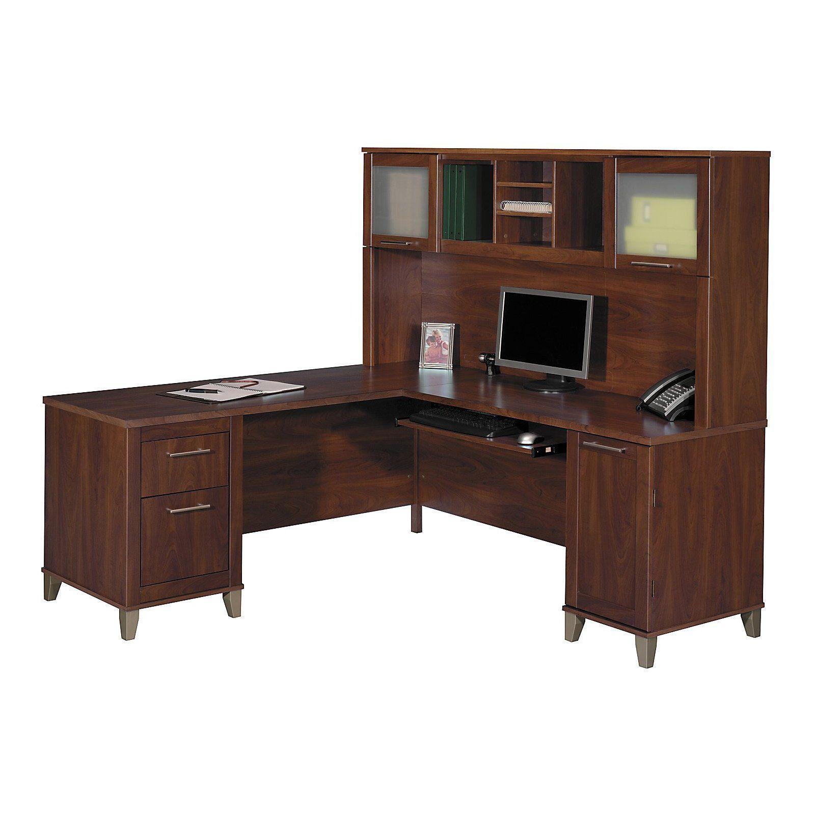 Bush somerset l shaped desk with hutch cherry desks pinterest somerset and desks - Cherry wood computer desk with hutch ...