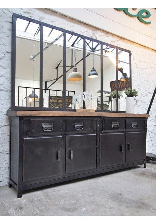 enfilade industrielle 4 tiroirs meubles en 2019 pinterest decoraci n industrial aparador. Black Bedroom Furniture Sets. Home Design Ideas