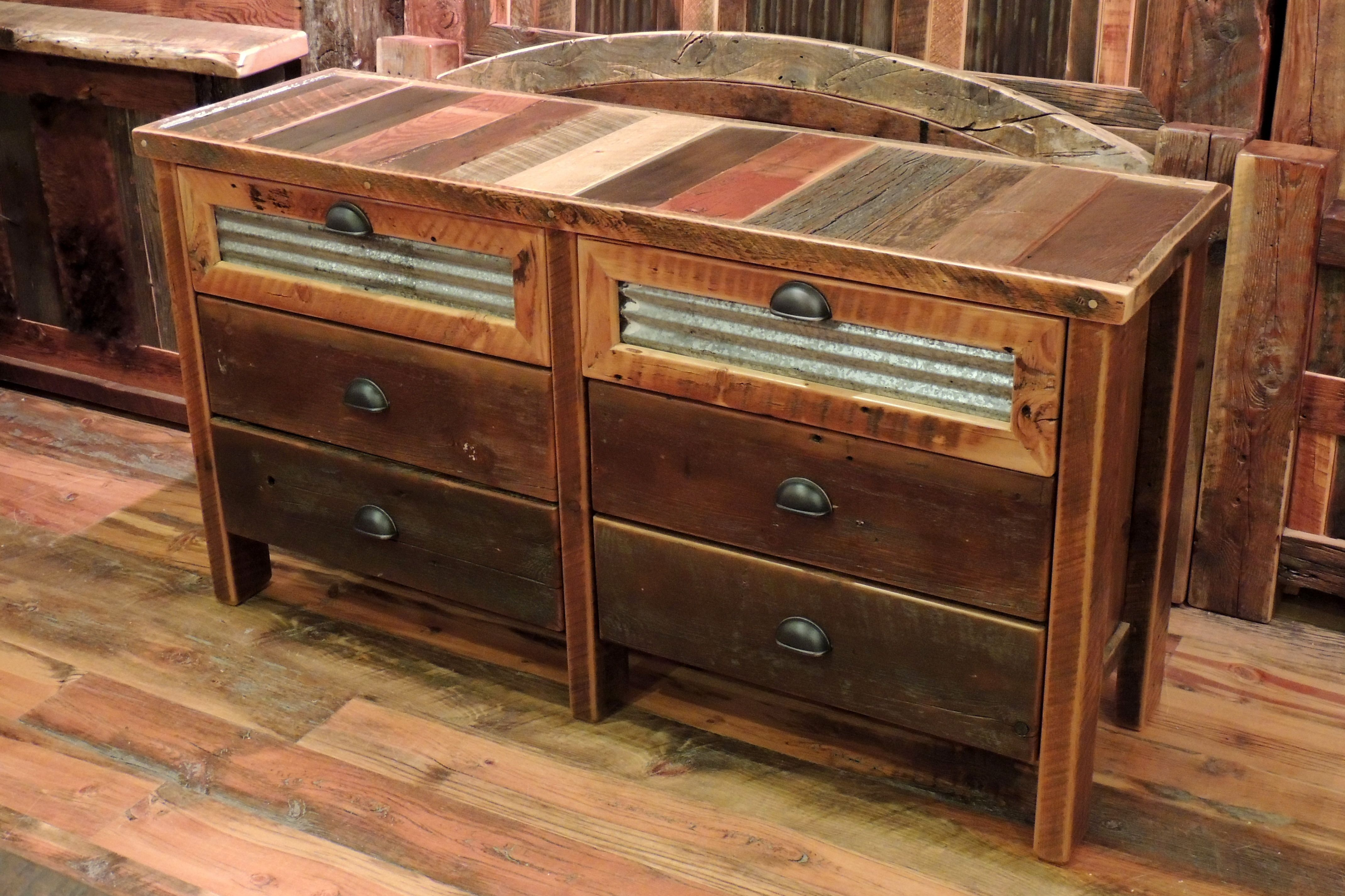 Barn Wood 6 Drawer Dresser, Corrugated Metal in Top