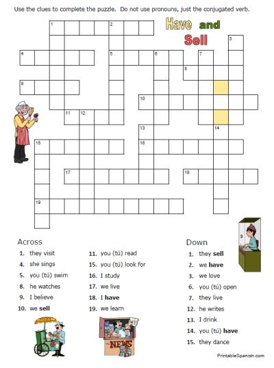 spanish worksheets printables printable crossword puzzle worksheet spanish regular verbs and. Black Bedroom Furniture Sets. Home Design Ideas