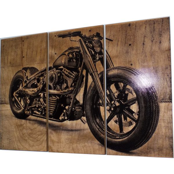 Harley davidson fatboy softail motorcycle bike print wood for Motorcycle decorations home
