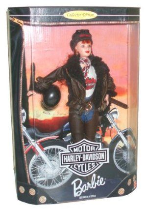 Barbie Year 1998 Motorcycles Harley-Davidson 2nd In A Series 12 Inch Doll Set with Barbie Doll, Jacket, Shorts, Chaps, T-Shirt, Belt, Scarf, Boots, Cap, Helmet, Satchel, Sunglasses, Doll Stand and Certificate of Authenticity by Mattel. $46.99. Barbie Year 1998 Motorcycles Harley-Davidson 2nd In A Series 12 Inch Doll Set with Barbie Doll, Jacket, Shorts, Chaps, T-Shirt, Belt, Scarf, Boots, Cap, Helmet, Satchel, Sunglasses, Doll Stand and Certificate of Authenticity. ...
