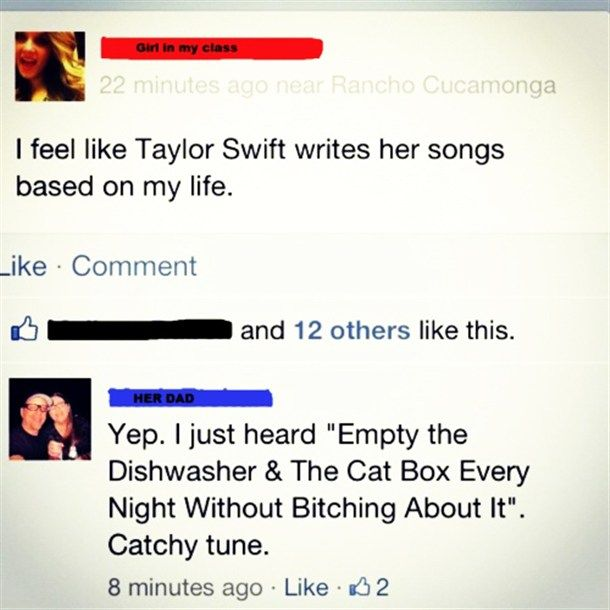 It would have been funnier if it were her mom commenting...