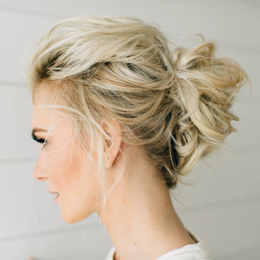 darn cool medium length hairstyles for thin hair blonde updo