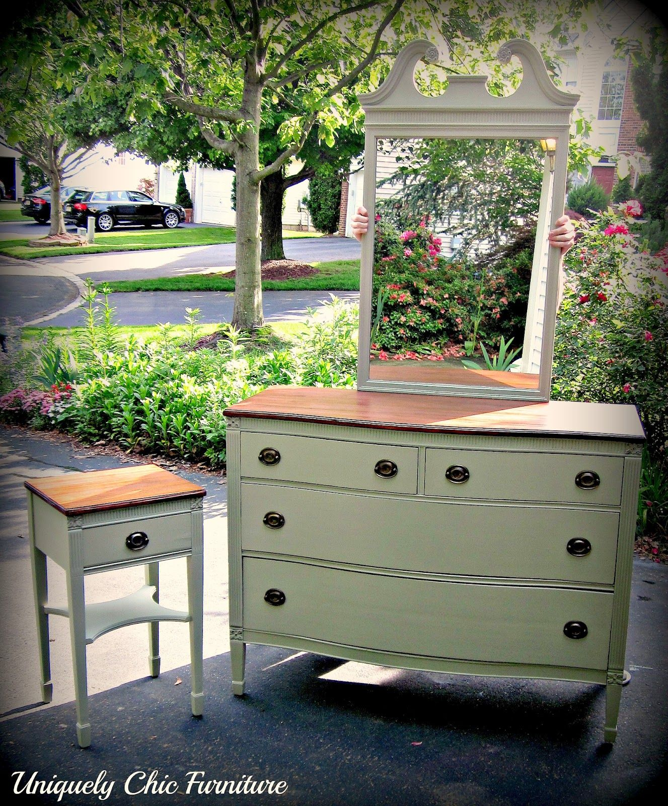 Uniquely Chic Sage Green Dresser And Nightstand Makeover