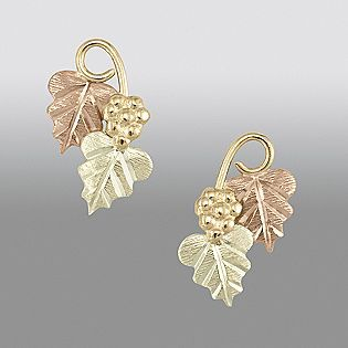 Black Hills Gold Earrings Leaf Bhg Tricolor Unique Jewelry