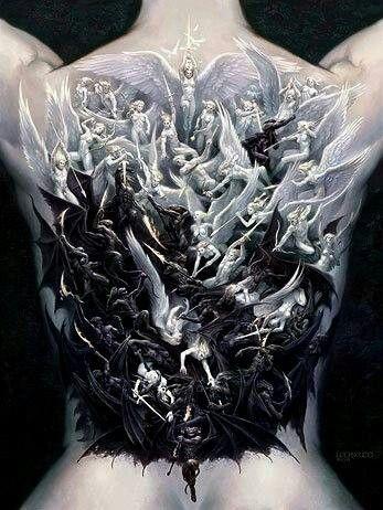bc82d4622467f War Of Angels And Demons Full Back Tattoo   Tattoos   Heaven tattoos ...