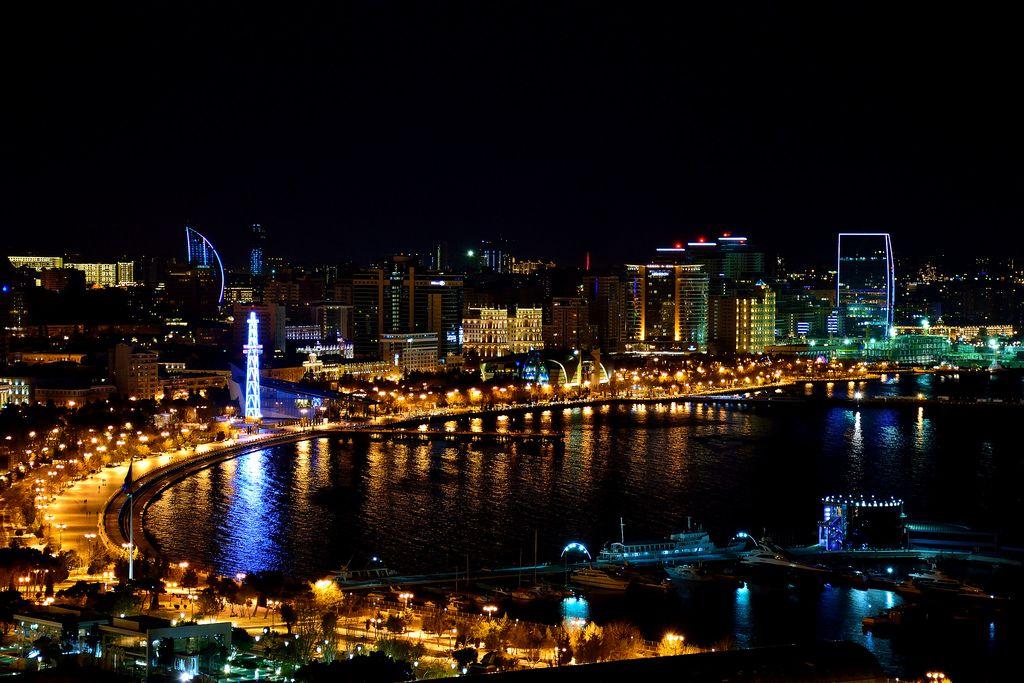 Baku Bulvar At Night Photo 32 365 Baku City Night City Panorama City