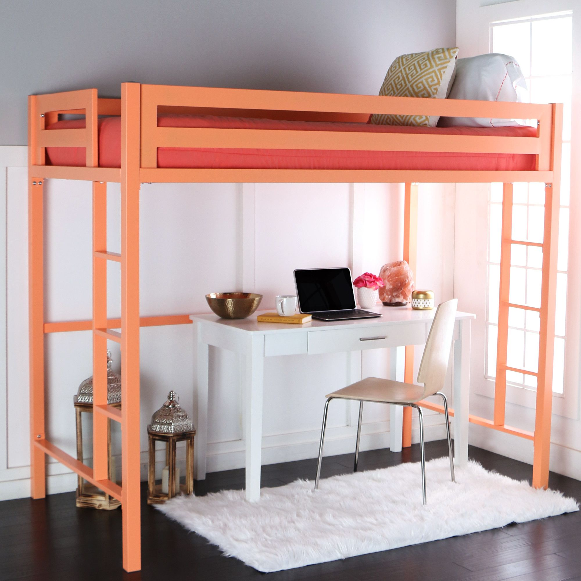 Wooden loft bed with desk  Nikolai Twin Slat Bed  Products  Pinterest  Products