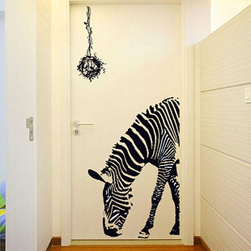 goedkope afneembaar zebra wanddecoratie mode paard muurstickers home decor slaapkamer woonkamer muur adhesivos pared koop