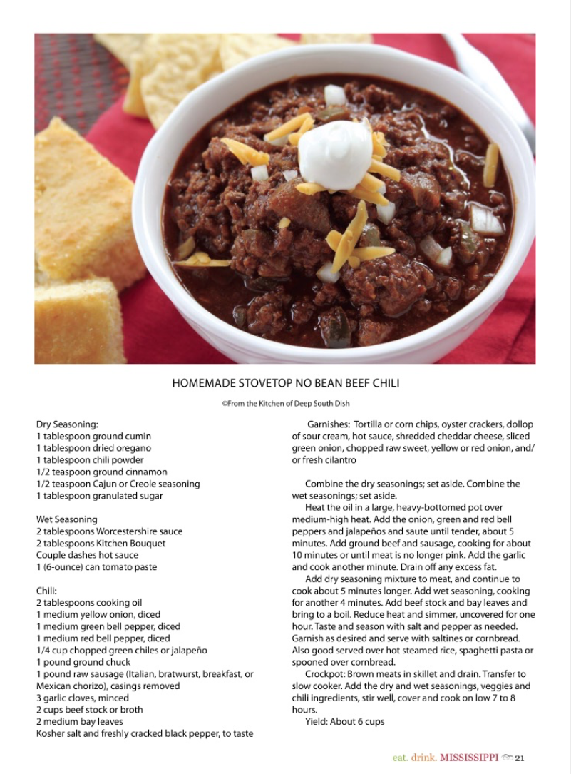 Homemade Stove Top No Bean Chili Eat Drink Mississippi 3 Recipes