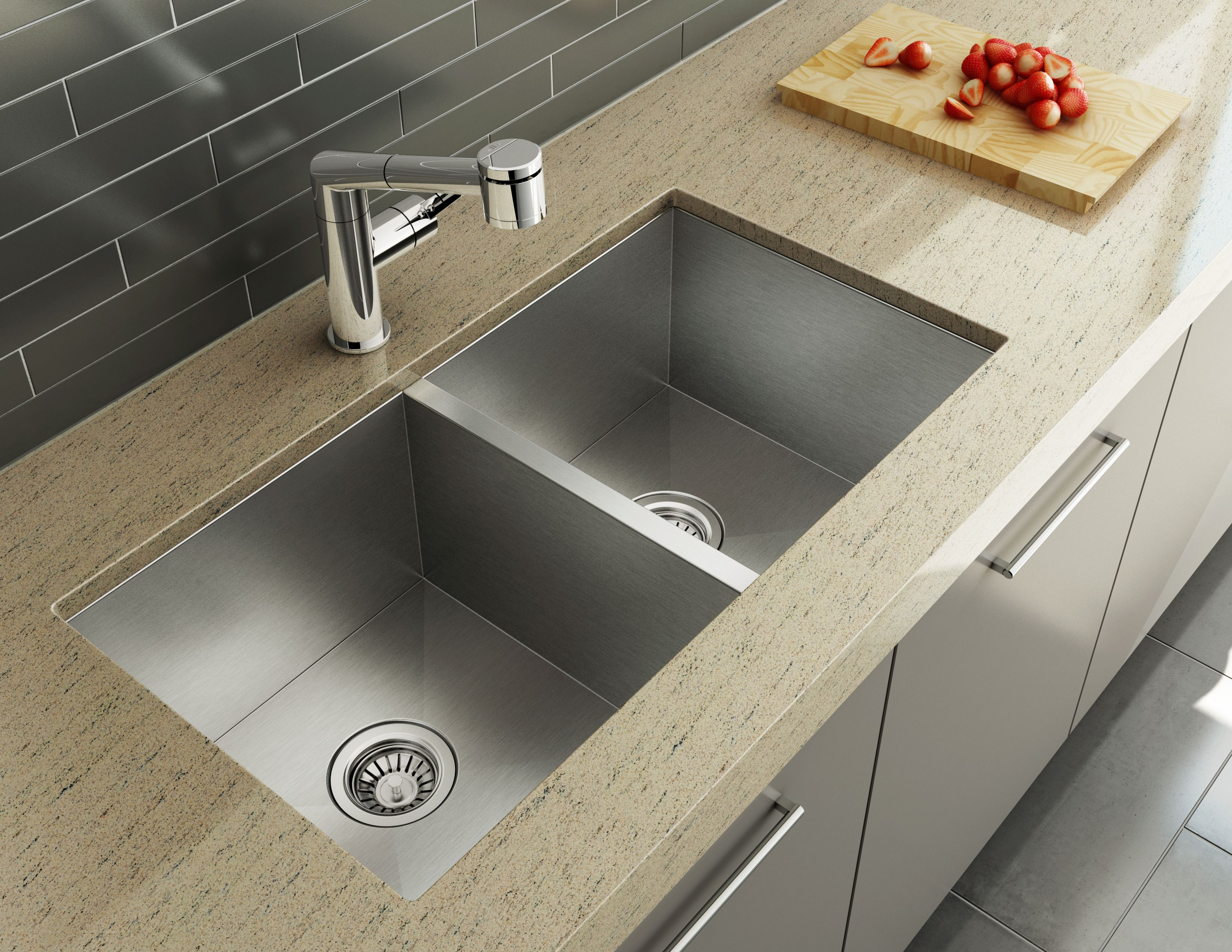 Kitchen sink with matching black glass tap landing and sliding cover - Atelier Kitchen Sink Collection New Condo Kitchen Faucet 20243 Aquabrass Newcondo