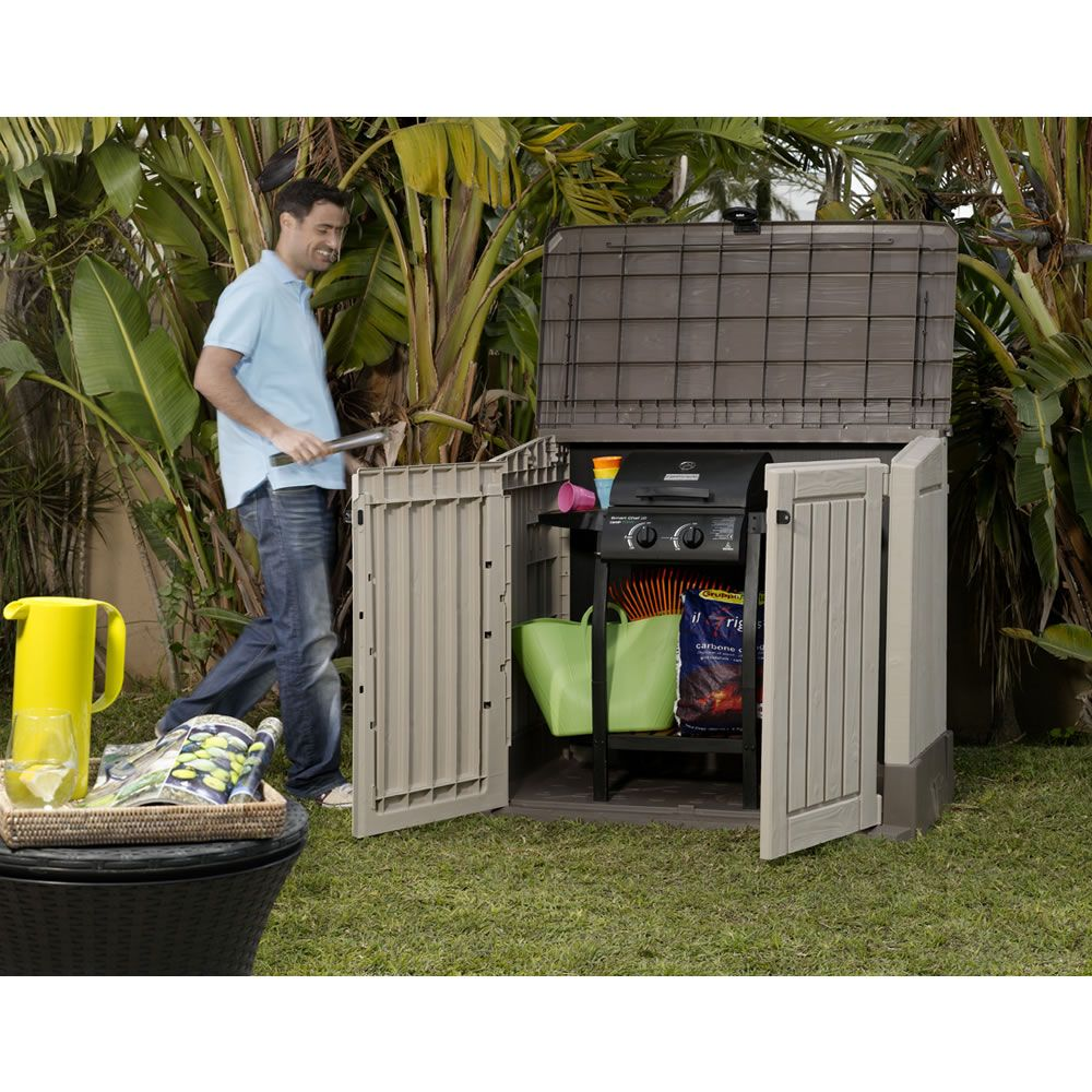 Woodland 30 Mini Storage Unit Garbage Shed Outdoor Storage Units Patio Furniture Cushions