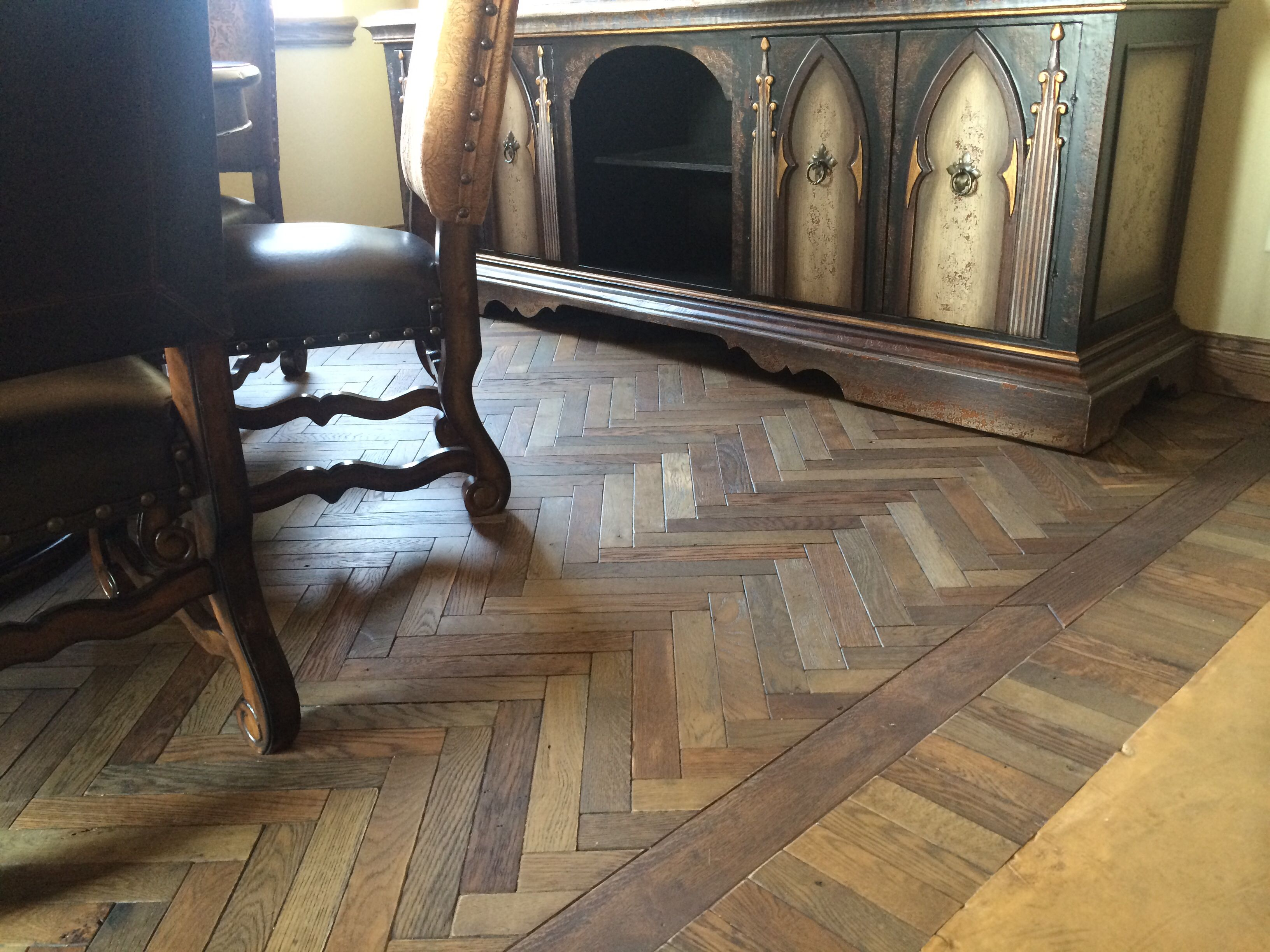 Nice Custom Wood Floor With Six Different Stains
