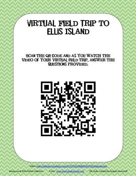 Ellis Island QR Code Activity - Immigration  This QR code links to a great virtual tour of Ellis Island.  It's packed full of great facts and this packet includes comprehension questions for the first 5 minutes of viewing.    The short video could be used as part of a center/rotation in Daily 5 or Social Studies collaborative work.  Great way to integrate the subjects!
