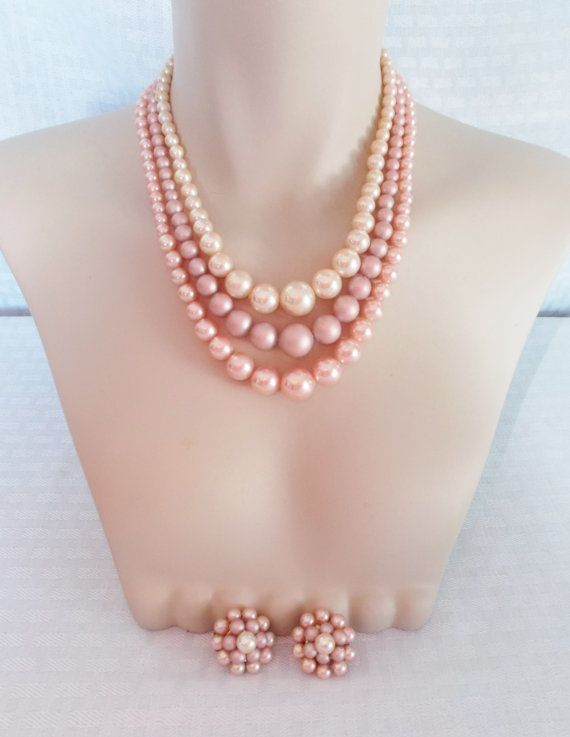 50's 60's Vintage Pink Faux Pearl Three Strand Necklace and Earrings Set Japan by MyVintageHatShop, $22.00