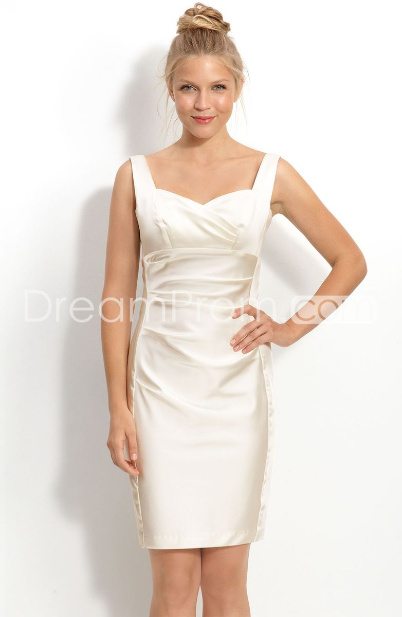 Mini white wedding dress  SexySheathColumnStrapsSweetheartMiniLengthWeddingDresses