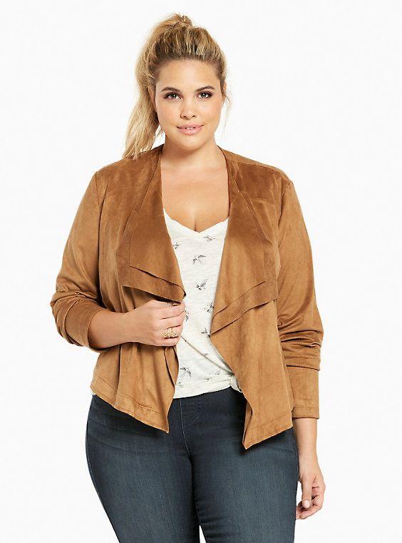 Plus Size Faux Suede Layered Drape Front Jacket {affiliate link}