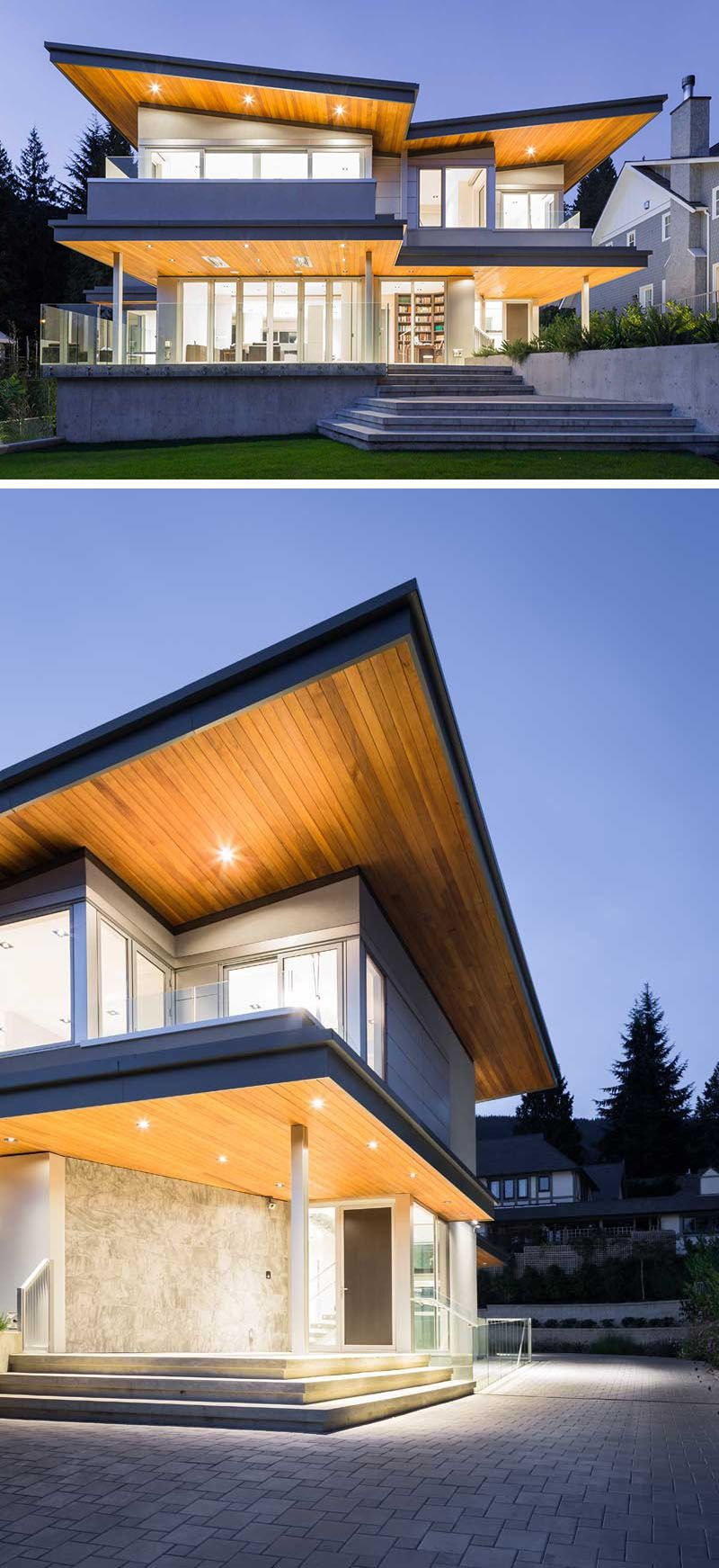 20 Awesome Examples Of Pacific Northwest Architecture // The Wood Butterfly  Roof Above The Concrete. Facade DesignHouse ...