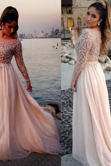 Ivory Prom Dress with Glittering Beads, Sexy long sleeve Prom Dress, Chiffon Prom Dress with Sparking Bodice, #02016063