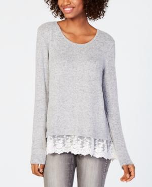 920a172446cc8 Bcx Juniors  Lace-Hem Sweater - Gray XXS