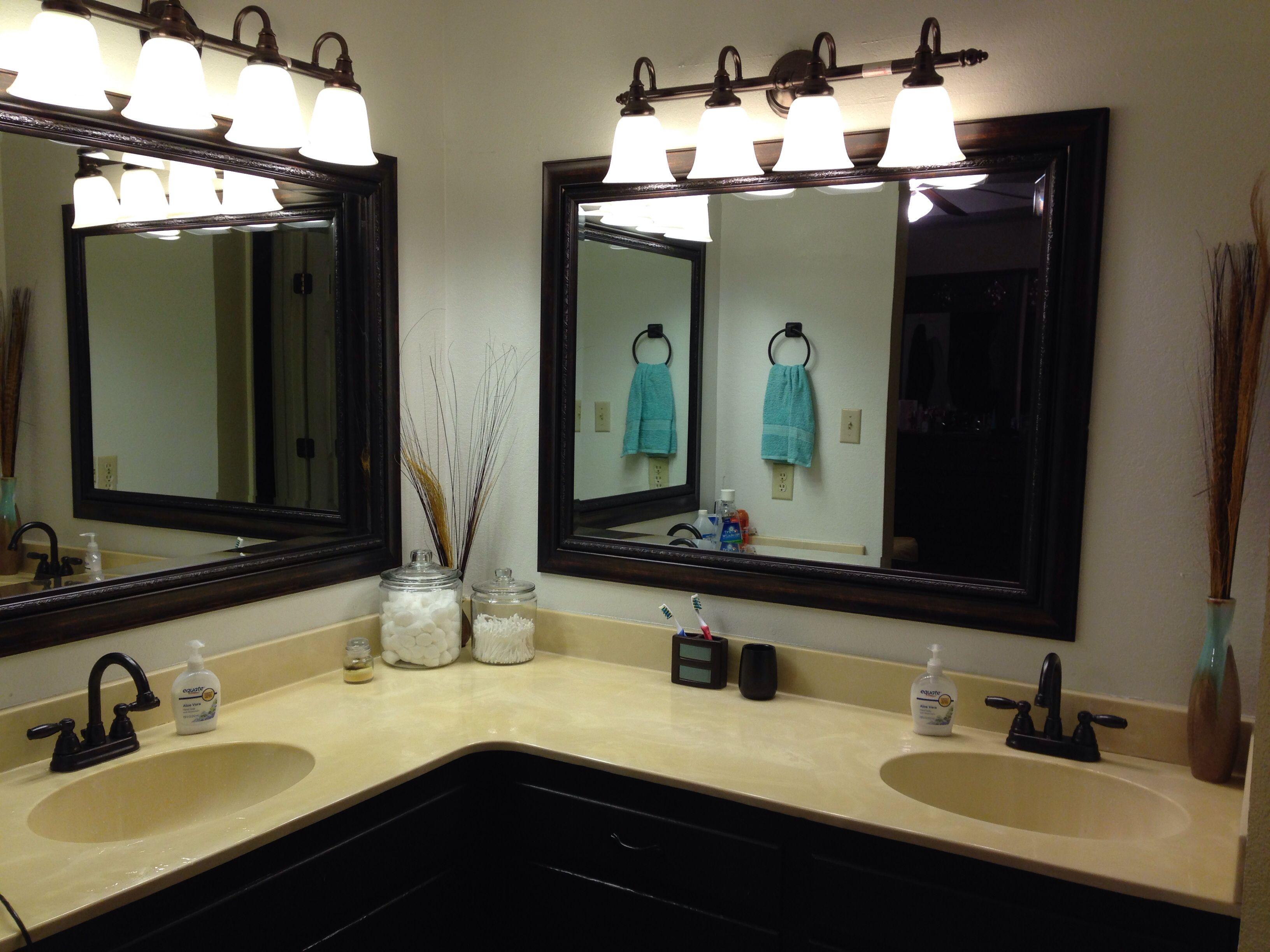 Brown and teal Bathroom vanity Kirklands mirrors Painted