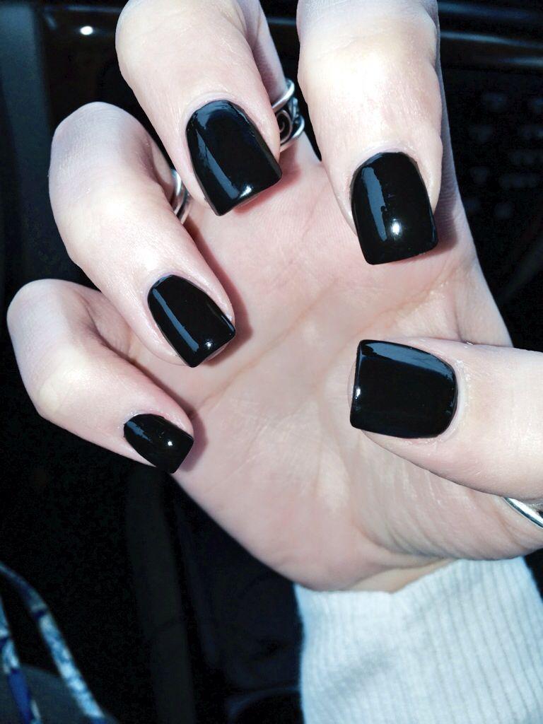 21 Stunning Black Nail Inspirations | Black acrylic nails, Acrylics ...