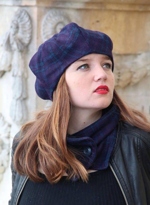 abca1689237a3 Purple tartan beret. Purple fabric hat. Slouchy french beret. Womens fabric  hat.