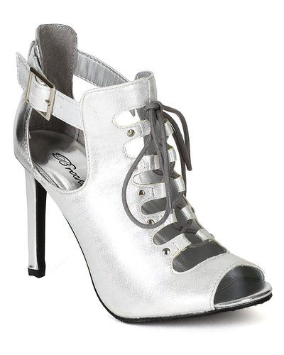 Breckelles BE84 Women Hologram Leatherette Open Toe Cut Out Mid Stiletto Heel Sandal Bootie - Silver (Size: 8.5)