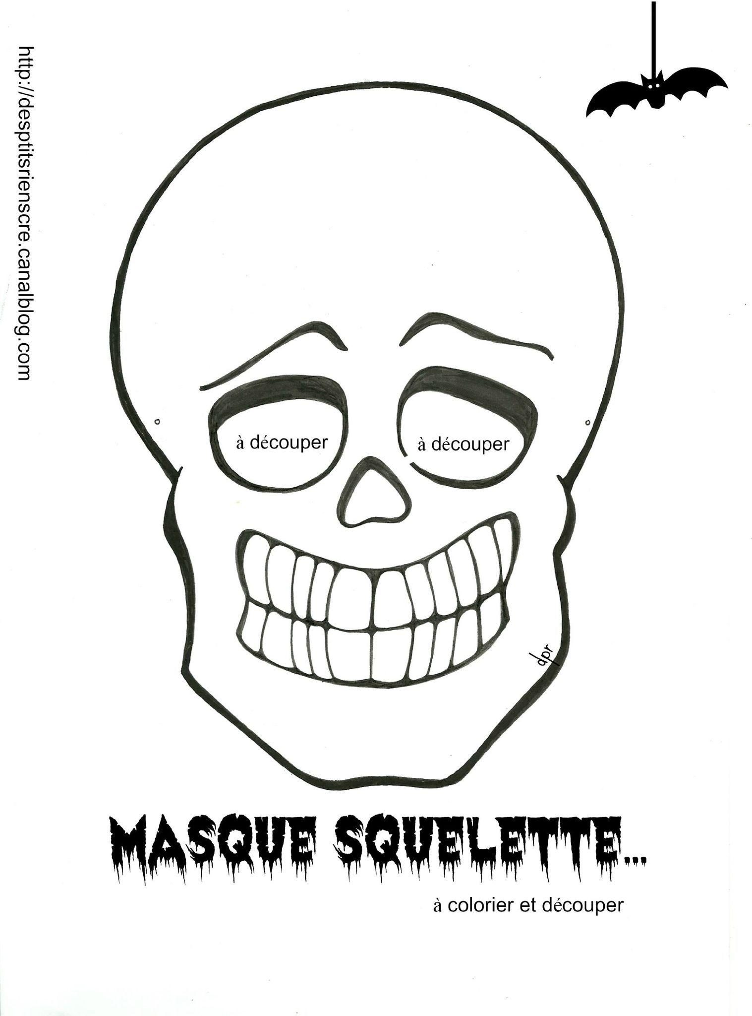 Pour vos p 39 tites crapules coloriage imprimer - Masque halloween a colorier ...